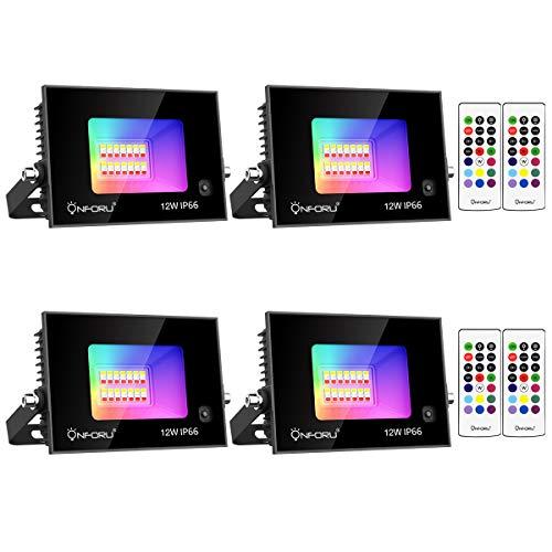 Onforu 4er RGB LED Strahler 12W, Farbig Fluter mit Fernbedienung, Farbwechsel Scheinwerfer Außen, IP66 Wasserdicht Außenstrahler, Bunt Dimmbar Flutlicht mit Timing, Memoryfunktion für Party Garten