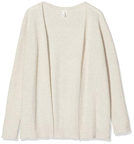Q/S designed by - s.Oliver Damen 41710646288 Strickjacke, Schwarz (Creme Melange 04W0), Small