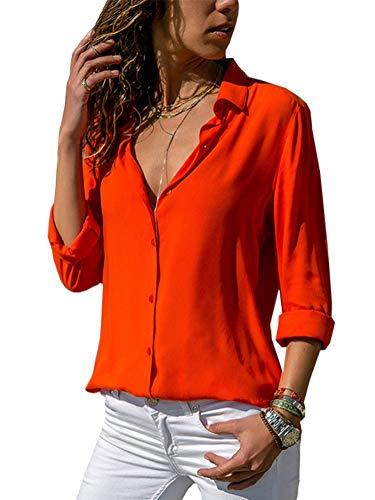 Donna Casuale Solido Manica Lunga Camicetta Camicia Bavero Elegante Bluse Arancione IT 48