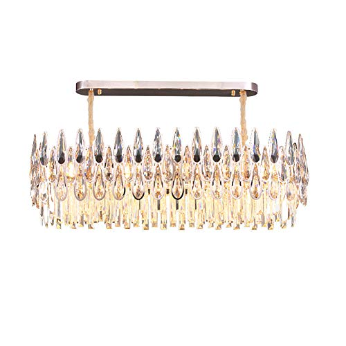 6-luces Cristal Lámparas,Nórdico Moderno Lámpara Colgante Lujo Redondo Iluminación Colgante Pantalla De Cristal Raindrop Luz De Techo,Acabado Dorado,15''X 9'
