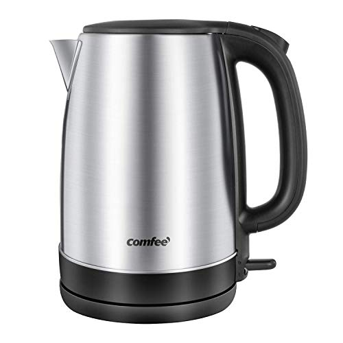COMFEE' 1.7L Stainless Steel Electric Tea Kettle, BPA-Free Hot Water Boiler, Cordless with LED Light, Auto Shut-Off and Boil-Dry Protection, 1500W Fast Boil (Renewed)
