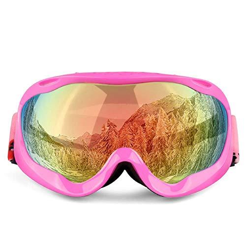 Qnlly UV-Anti-Fog-Outdoor-SchneebrilleMens Womans Ski Snowboard Brille Sking Racing ATV-Brille,Rosa