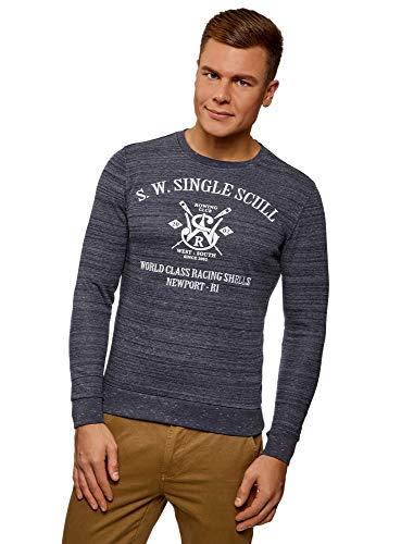 oodji Ultra Herren Gerades Sweatshirt mit Druck, Blau, DE 44 / XS