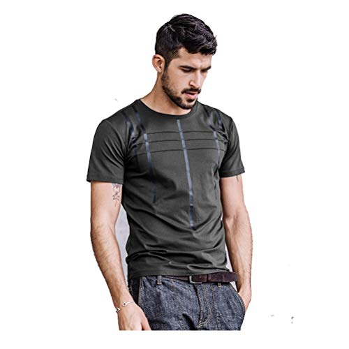 Men's ronde hals T-shirt Slim And Simple Summer Top Gepersonaliseerde Stickers zweettransporterend Casual Sport korte mouwen (zwart/grijs)
