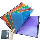Lesown 12 Pocket Expandable Project Sorter - Multicolor Expanding Plastic File Folder Organizer, Notebook Folders, A4, Letter Size