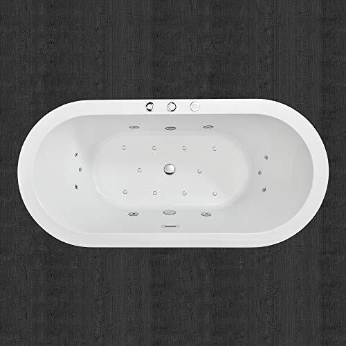 "WOODBRIDGE White 67"" Acrylic Freestanding Bathtub Contemporary Soaking Chrome Overflow and Drain, BTS1606, B-0030 Whirlpool Tub"