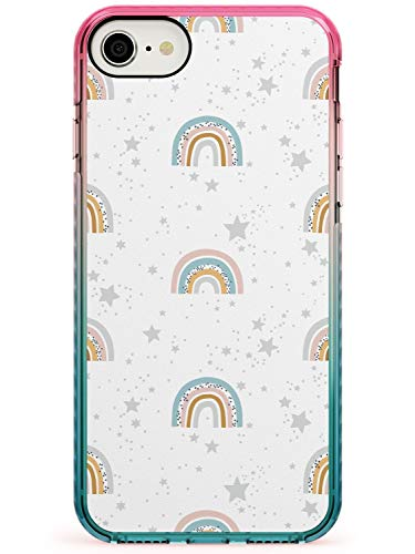 Playful Skies Abstract Rainbows Pattern Pink Impact Phone Case for iPhone 7 Plus, for iPhone 8 Plus   Protective Dual Layer Bumper TPU Silikon Cover Pattern Printed   Cute Illustration Drawing Adorab