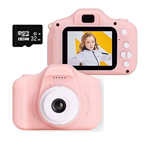 Yuyitec Kids Digital Camera,2 Inch IPS Screen HD 1080P Children Gifts Game Camera for 3-10 Years Girls with 32GB SD Card(Pink)