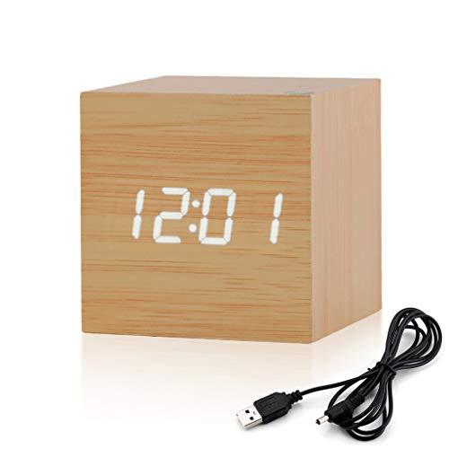 Reloj Digital Moderno, Mínimalista LED Despertador de Madera en Forma de Cubo Alarmas Alimentado por USB 2.0 & Pilas idel para Hogar, Oficina, Habitación, Escritorio (Original)