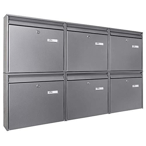 Burg-Wächter Briefkastenanlage 6 Fach | 108,6x64,4x10cm groß verzinkt Stahl silber DIN A4 | Briefkasten Set 6 Briefkästen mit Namensschild, 2 Schlüssel, Montagematerial