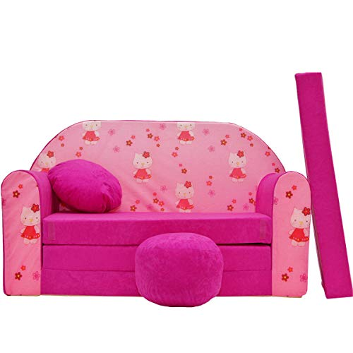 millybo Kindersofa Couch Kindercouch Spielsofa 3in1 Kinder Sofa Minisofa rosa (MI-H23)