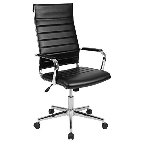 Flash Furniture High Back Black LeatherSoft Contemporary Ribbed Executive Swivel Office Chair, BIFMA Certified