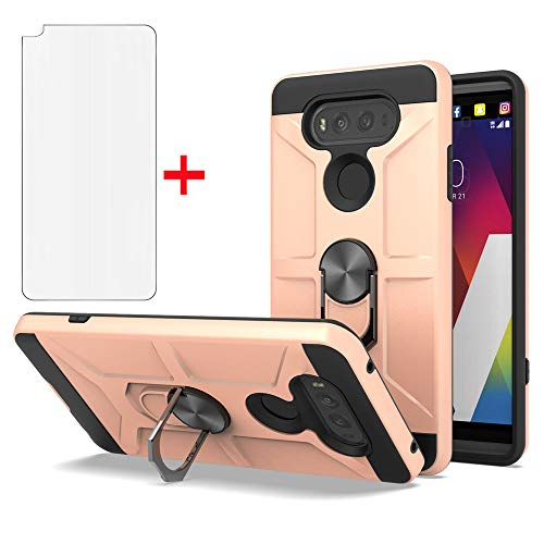 Phone Cases for LG V20 Case,LG V20 ,LG V 20 Case LG V 20 Phone Cases,LG VS995/LG H990/LS997/LG H910 Case 360 Degree Rotating Ring Kickstand Hybrid Dual Layer Defender Case for LG V20-CH Rose Gold