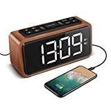 KOOSIN Radio Alarm Clock, Large LED Display Wood Digital FM Alarm Clock, Adjustable Brightness Dimmer and Snooze, Simple LED Clock with Dual Alarm, 12/24 Hour, Powered by AC Adapter