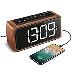 Radio Alarm Clock, Large LED Display Wood Digital FM Alarm Clock, Adjustable Brightness Dimmer and Snooze, Simple LED Clock with Dual Alarm, 12/24 Hour, Powered by AC Adapter (White LED)
