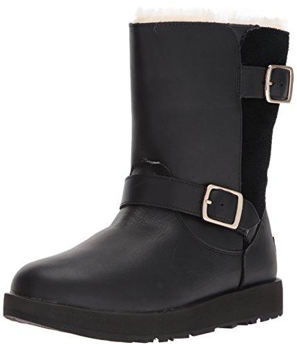 UGG Women's Classic Waterproof Breida Leather/Suede Zip Boot Black-Black-4 Size 4