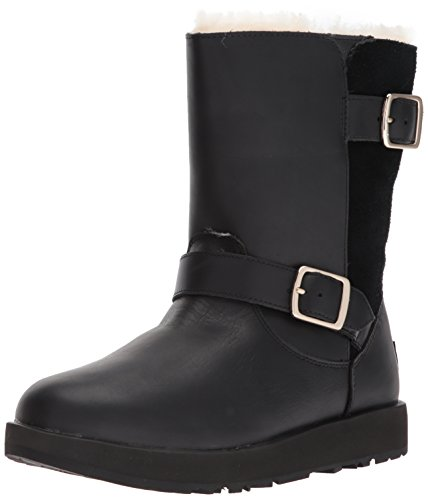 UGG Women's Classic Waterproof Breida Leather/Suede Zip Boot Black-Black-4 Size 4