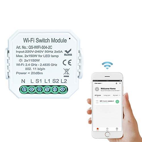 Interruptor de luz Inteligente DIY módulo Smart Life/Tuya App Mando a Distancia, Funciona con Alexa Echo Google Home 1/2 Way 2C