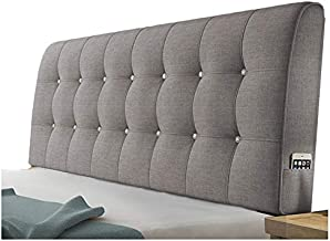 WENZHE Upholstered Headboard Bedside Cushion Pads Cover Bed Wedges Backrest Waist Pad Flax Soft Case Home Hotel Backrest Washable, 5 Colors (Color : B-Gray, Size : 200x58x10cm)