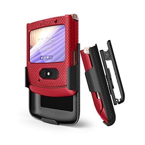 BELTRON Schutzhülle mit Clip für Motorola RAZR 5G (ATundT / T-Mobile), aufsteckbar, Schutzhülle mit drehbarem Gürtelholster, integrierter Ständer, für Motorola Moto RAZR 5G Flip Phone (2020) XT2071, Rot