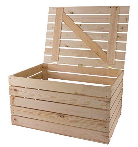 Moooble 1x Holztruhe in hellem, unbehandelten Naturholz mit Deckel | 85x55x46 cm | für alle Räume, auch Kinderzimmer | drinnen & draußen