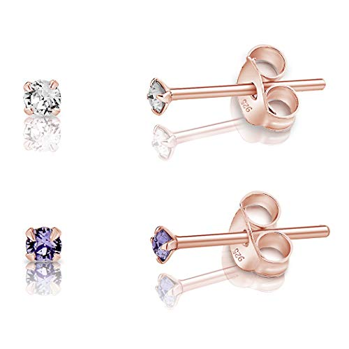 DTPSilver - Set of 2 PAIRS of 925 Sterling Silver Rose Gold plated Round TINY Stud Earrings made with Glittering Crystals from Swarovski Elements - Diameter: 2 mm - Colour : Tanzanite