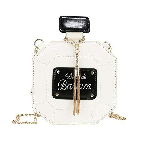 COUYY Kleines frisches Kunst Mädchen All-Match-Messenger Bag Niche Design Parfüm Flasche Quaste Kette Tasche Umhängetasche Neue,Weiß