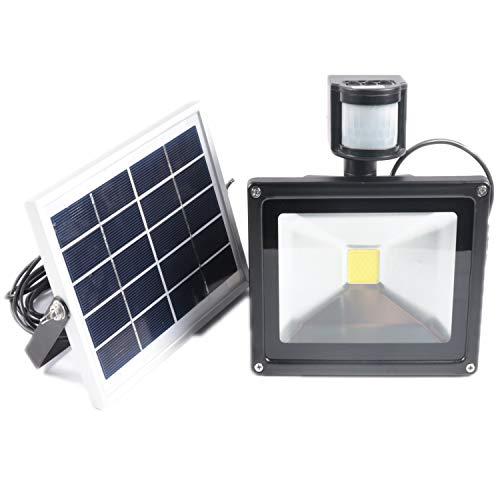 HENGMEI 20W Solarlampen für Außen Solarleuchte mit Bewegungsmelder LED Strahler Kaltes Weiß Fluter 3 Modi Solarlicht Wasserdichte für Garten,Sportplatz