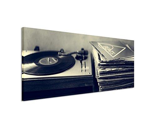 Unique Wunderschönes Wandbild 150x50cm Kunstbilder – Schallplattenspieler und Vinyl schwarz weiß