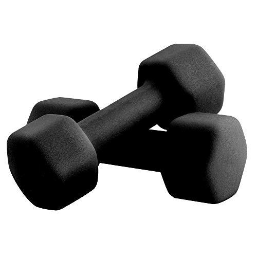 Portzon Set of 2 Neoprene Dumbbell Hand Weights, Anti-Slip, Anti-roll, Black (Neoprene Dumbbells)