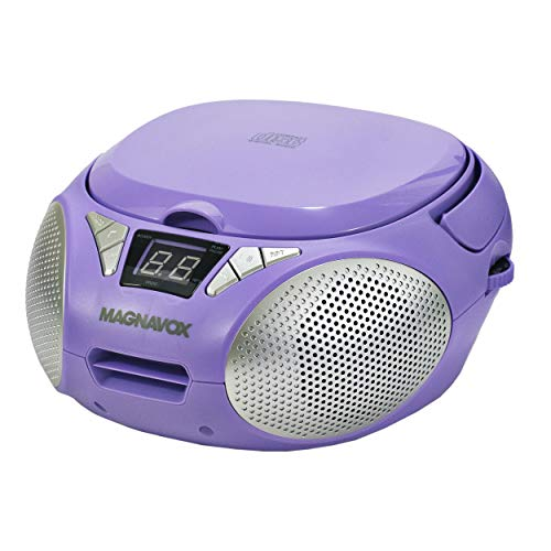 MAGNAVOX MD6924-PL Portable Top Loading CD Boombox with AM/FM Stereo Radio in Purple | CD-R/CD-RW Compatible | LED Display | AUX Port Supported | Programmable CD Player |