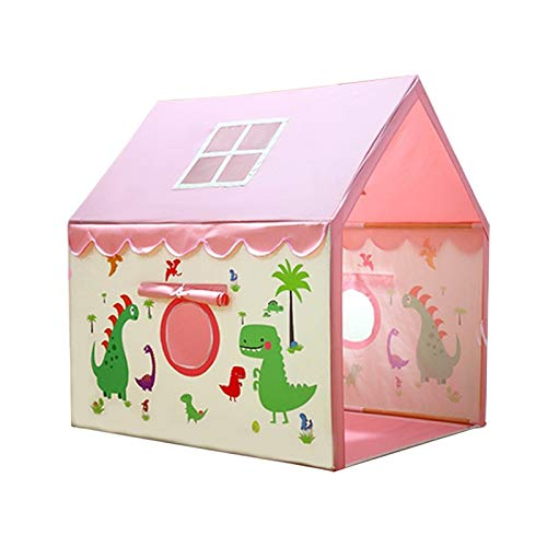 Tiendas de campaña dinosaurio para niños, casa de juegos de dibujos animados montado para decoración de dormitorio de niños - Cuento (color: rosa, tamaño: 105 x 126 x 136 cm)