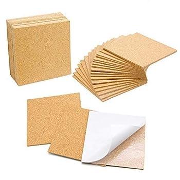Blisstime 36 PCS Self-Adhesive Cork Sheets 4 x 4  for DIY Coasters Cork Board Squares Cork Tiles Cork Mat Mini Wall Cork Board with Strong Adhesive-Backed