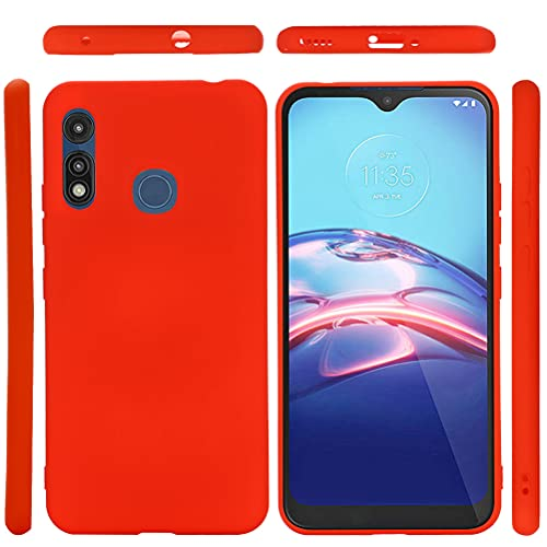 Red Silicone Case for Motorola Moto E 2020, Soft Rubber Gel Case Lanyard Liquid Silicone Phone Cover Girl Women Anti-Dirty Case Matte Waterproof Shockproof Protector Case for Moto E 2020