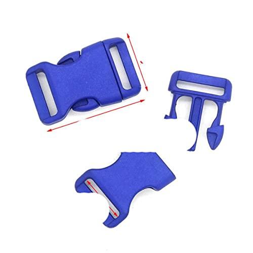 Hebillas de liberación lateral contorneadas de plástico de 25 mm para pulseras de paracaídas/respaldo, 1000 unidades, azul oscuro