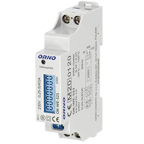 Orno WE-521 LCD Contatore Energia Elettrica 1 Fase Display Consumo Energetico con Certificato MID e uscita ad impulsi (retroilluminato)