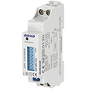 ORNO WE-521 Medidor De Consumo Electrico Monofásico Con Certificado MID y salida de pulso (con luz de fondo)