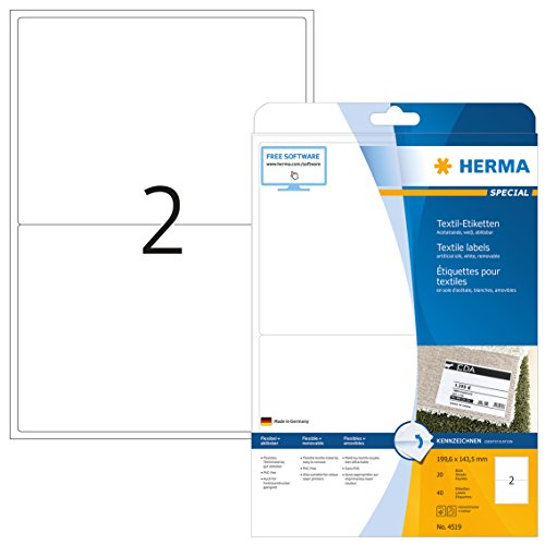 HERMA 4519 Namensetiketten DIN A4 ablösbar (199,6 x 143,5 mm, 20 Blatt, Acetatseide) selbstklebend, bedruckbar, rückstandsfrei abziehbare Namensaufkleber, 40 Klebeetiketten, weiß
