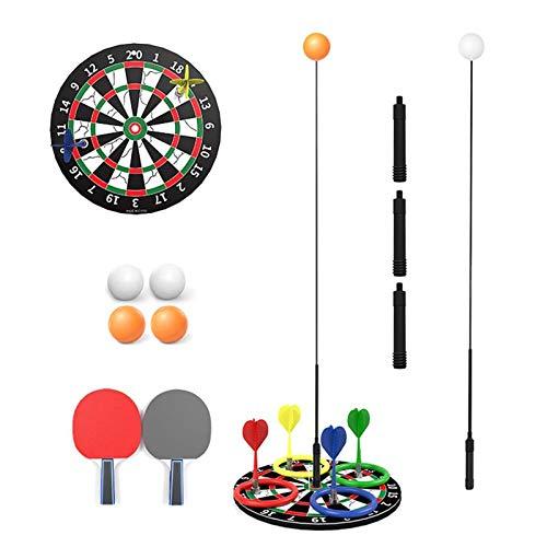 Tabla de deporte de la mesa de la mesa de reposacabazas de la mesa altura ajustable elástica del eje suave del ocio portátil Ping pong kit de entrenamiento con 2 racket 6 Pelota de práctica para auto