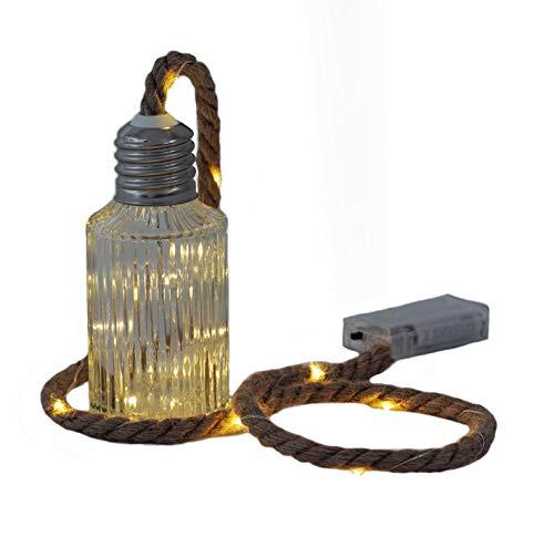 Glas Flasche mit Deko Seil und 20 LED Draht Lichterkette - Tischlampe Tischleuchte