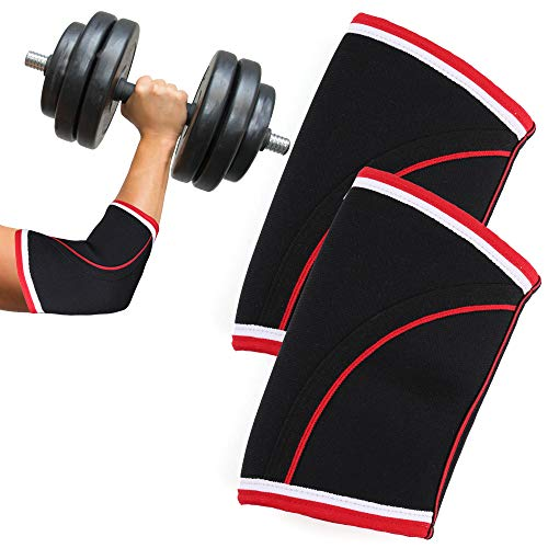 Elbow Sleeves, 5mm Neoprene Elbow Brace, 1 Pair, Compression and Support for Weightlifting, Crossfit, Powerlifting, Bench, Tendonitis, Large