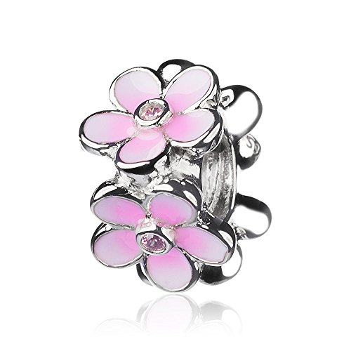 ATHENAIE 925 sterling zilver pleisters CZ Pale Cerise Enamel Lieblingsing Madeliefjes Spacer Charms