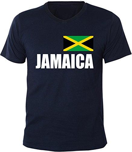Mister Merchandise Herren V-Ausschnitt T-Shirt Jamaica Fahne Flag, V-Neck, Größe: XXL, Farbe: Navy