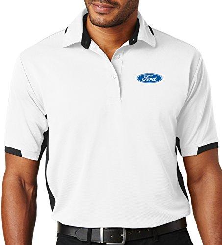 Mens Ford Oval Ottoman Polo Shirt (Pocket Print), Large White/Black