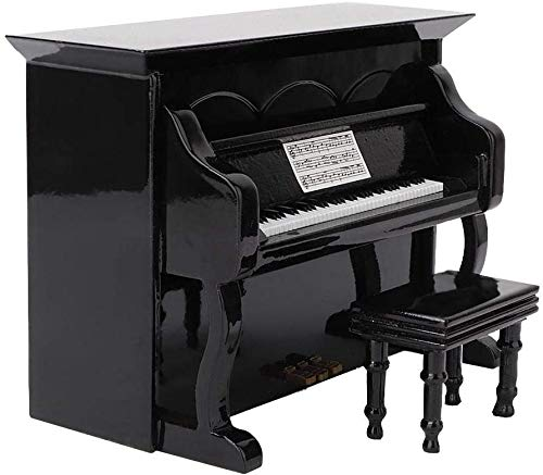 FTVOGUE Miniatur Holz Klavier Modell Musikinstrument Modell Wohnkultur Ornamente Möbel Szene Zubehör 14×7×10cm