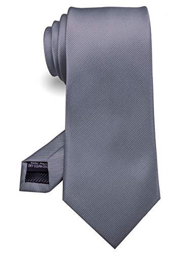 Men's Dark Grey Neckties Silk For Men Suit Fitness Dating Fashion Prom Formal Ties