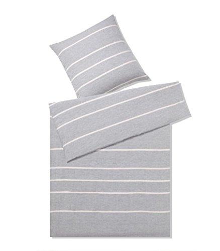 Elegante Halbleinen Bettwäsche Relax 7047-009-240x220-2x80x80 grau-rose