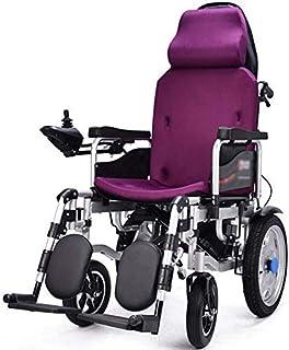 ZHANGYY La Silla de Ruedas eléctrica Plegable con reposacabezas, la Silla de Ruedas eléctrica motorizada, el Respaldo portátil Plegable y el Pedal se Pueden Ajustar