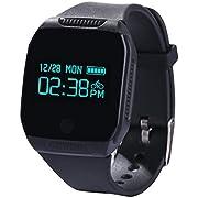 AsiaLONG Smart Armband Wasserdicht Schrittzähler Fitness Armband Bluetooth Fitness Tracker mit Schritte Zählen/Schlaf-Tracker/Kalorienverbrennun/Musik Steuerung/SMS Whatsapp Anrufe Reminder für Schwimmen Radsport für Samsung Android iOS Smartphones (Schwarz)