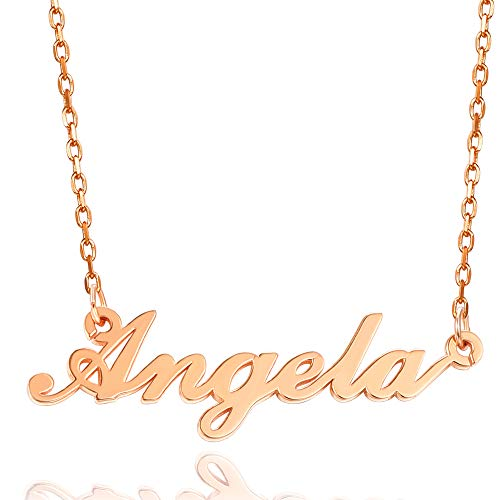 Hongding Personalized Name Necklace Custom Name Plated Rose Gold Plated Stainless Steel Pendant Necklace for Women Girls Gift for Mom
